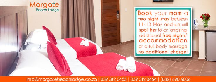 Give mom the gift of a long weekend away to be pampered this Mother's Day on the South Coast in KZN!