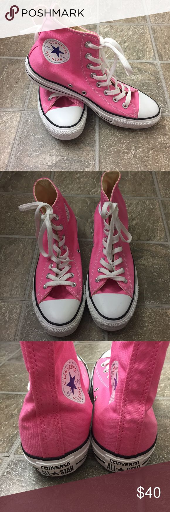Pink high top converse These are a pair of pink high top converse for sale :) Converse Shoes Sneakers