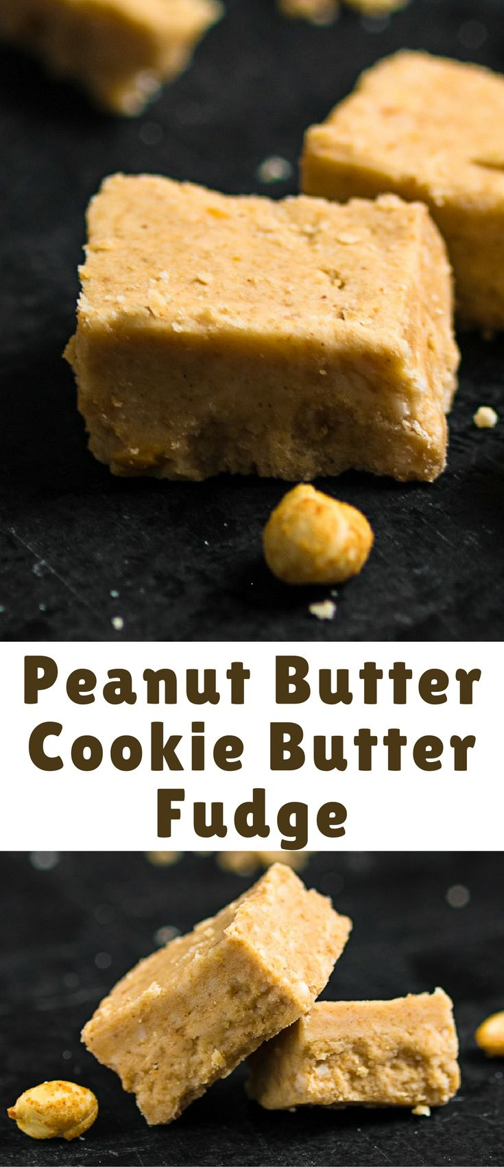 Peanut Butter Cookie Butter Fudge, a super simple no-bake dessert made from Speculoos (AKA Biscoff spread) and creamy peanut butter.