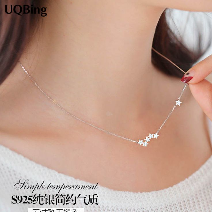 Drop Shipping 925 Sterling Silver Chain Necklaces Star Pendants&Necklaces Jewelry Collar Colar de Plata //Price: $19.72 & FREE Shipping //     #hashtag2