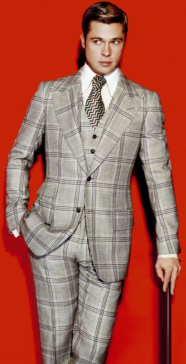 Brad Pitt in a very 70's inspired suit - check out those lapels