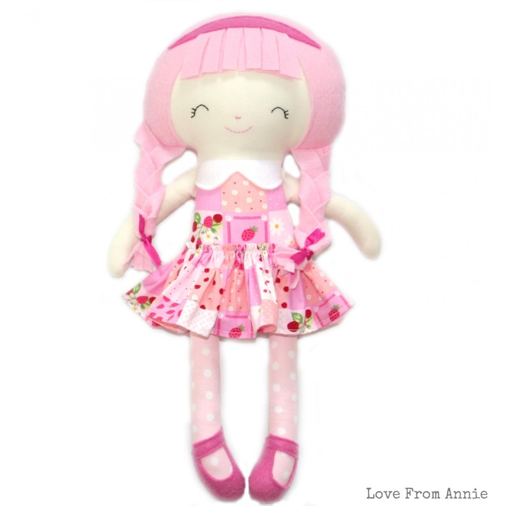 #ladybird2turtle #pinadayoct #pink $49.00 Pink Strawberry Doll by lovefromannie on Handmade Australia