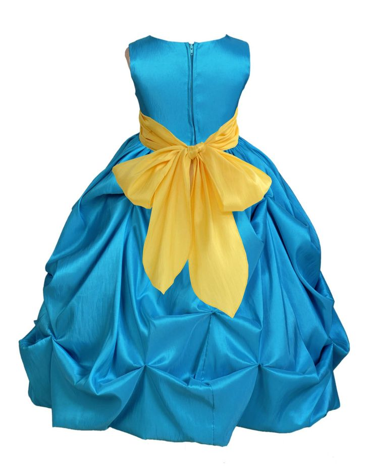 Turquoise Bubble Taffeta Formal Bridesmaid Beauty Pageant Special Occasions Flower Girl Dress 301s1