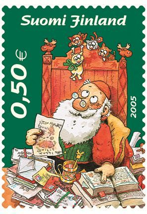 Leena, our Postationist Elf, knows that Santa doesn't have far to travel on Christmas Eve to deliver presents to people in Finland! She likes to see the animals playing in the snowy forests while families enjoy a hot sauna on Christmas Eve. And, of course, there are candles, candles everywhere!  (Stamp: Finland, 2005)