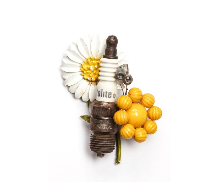 Spark Plug Daisy Yellow Boutonniere Men's Alternative Buttonhole Mechanic Automotive Auto Car Guy Groom Handcrafted White - 889957 / 1000091 by TheRitzyRose on Etsy https://www.etsy.com/listing/198005799/spark-plug-daisy-yellow-boutonniere-mens