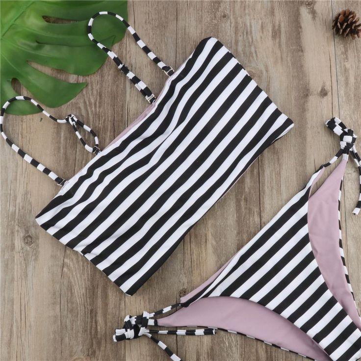 Sexy Elegant Stripe Halter Swimsuit Set