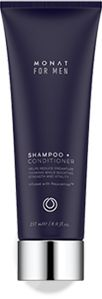 Men's 2 in 1 shampoo and conditioner 38$ Improves essential moisture and balance for youthful, healthy hair that improves follicle strength to reduce hair thinning by addressing the actual cause of hair loss. Monat Hair Products.