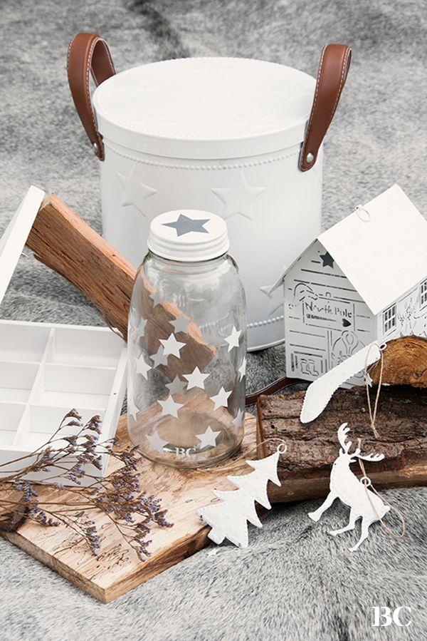 Mit Sternen bestempelte Flasche (kann aus Saftflaschen gemacht werden!)
