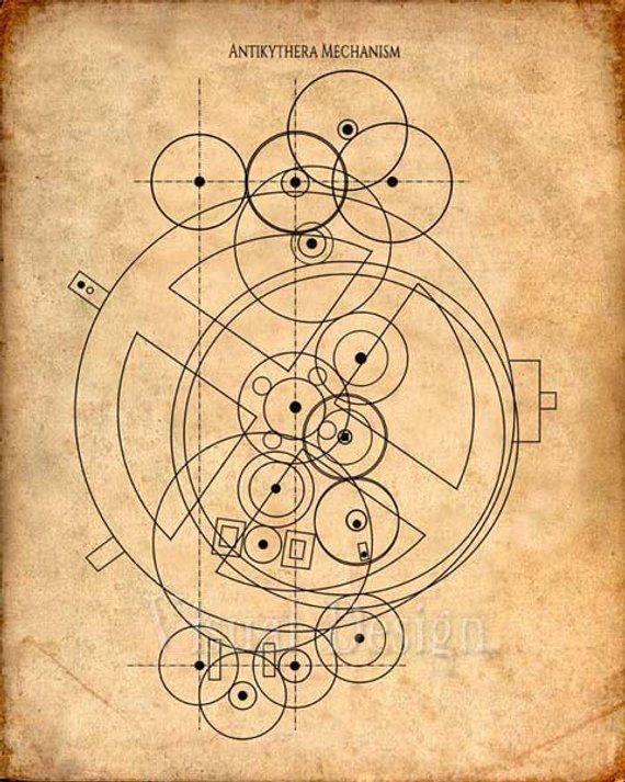 d072f974c1 Antikythera Mechanism - Patent Art Print - Patent Poster - Computer Art -  Astronomy - Analog Compute