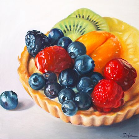 """Fine Art by Sarah E. Wain, """"Fruit Tart II,"""" oil on canvas, 24in X 24in. I love how realistic this piece is. I would love to try to achieve this level of realism using colored pencils."""