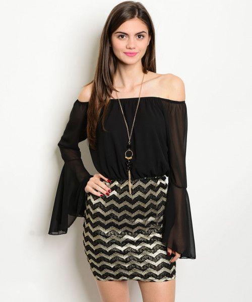 Black & Gold Sequin Skirt Dress