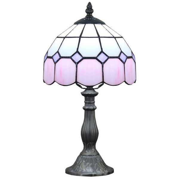 Modern Tiffany Pink Glass Beside Table Lamps ($73) ❤ liked on Polyvore featuring home, lighting, table lamps, modern lighting, glass lamp, glass lighting, modern glass table lamp and pink table lamp