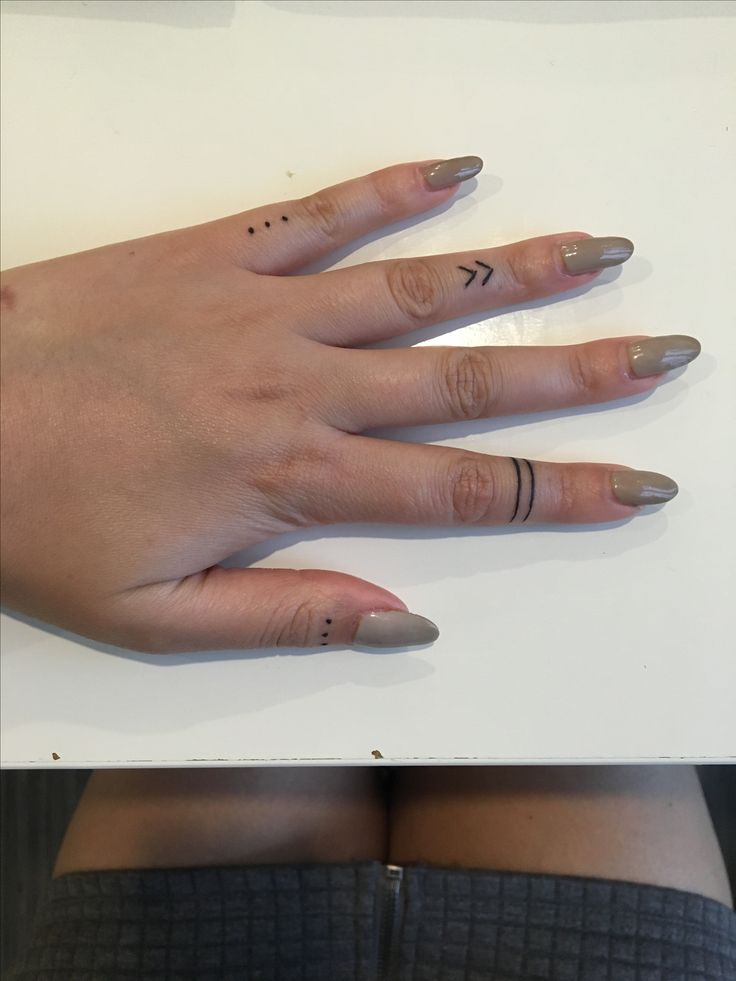 Finger tattoos. Three dots. Warrior band. Chevron