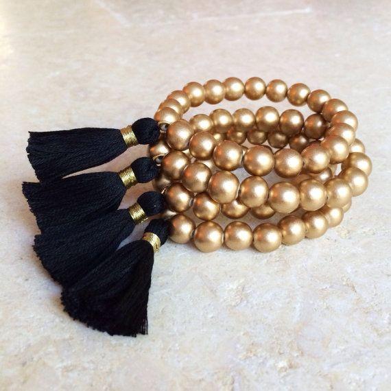 Tassel Bracelet with Gold Metallic Wood Beads от FancyFreebirds