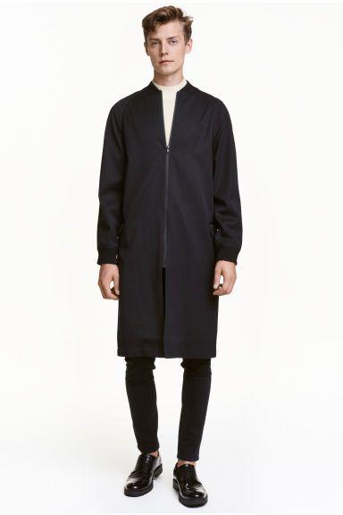 Długa kurtka bomberka z wełną   H&M