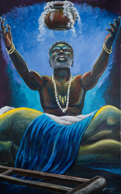 Babalu-Aye is the god of healing and illness. He is known to be compassionate and humble, and often depicted with a crane or crutches.