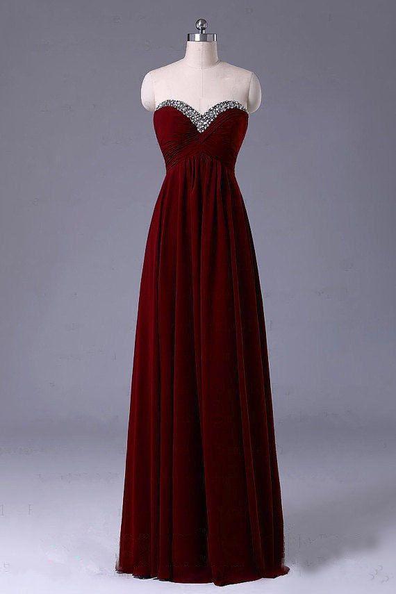 Strapless bridesmaid Dresses Long chiffon  prom by LovingDresses, $105.00