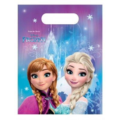 Faites plaisir aux copines de votre fille avec ces  6 pochettes à anse  en les garnissant de sucreries, gâteaux et autres surprises. Ces petites princesses d'une après-midi garderont ainsi un souvenir de cet  anniversaire Reine des Neiges .    Anna  et  Elsa , les deux soeurs et princesses Disney, sont imprimées sur le sac, posant devant leur  château de glace  aux couleur du film  Disney Frozen  comme mentionné sur le haut du sac.   Ces  sacs cadeaux  sont assortis au reste de notre gamme…