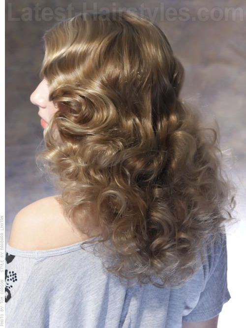 Sandy Blonde Hair Color with Curls Back View