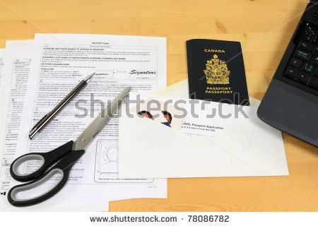 Picture of all objects (application form, passport pictures, mail envelope and expired passport) used to apply for Canadian passport renewal by mail. #Travel #Passport #Stockphoto #Photography