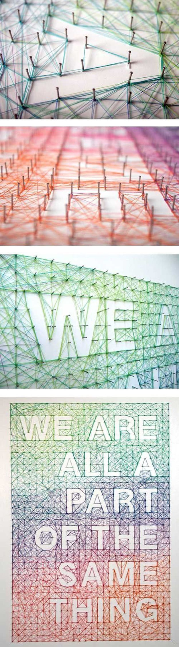 Cool DIY String Wall Quote Ideas | http://diyready.com/12-easy-diy-string-art-ideas-to-hang-in-your-home/