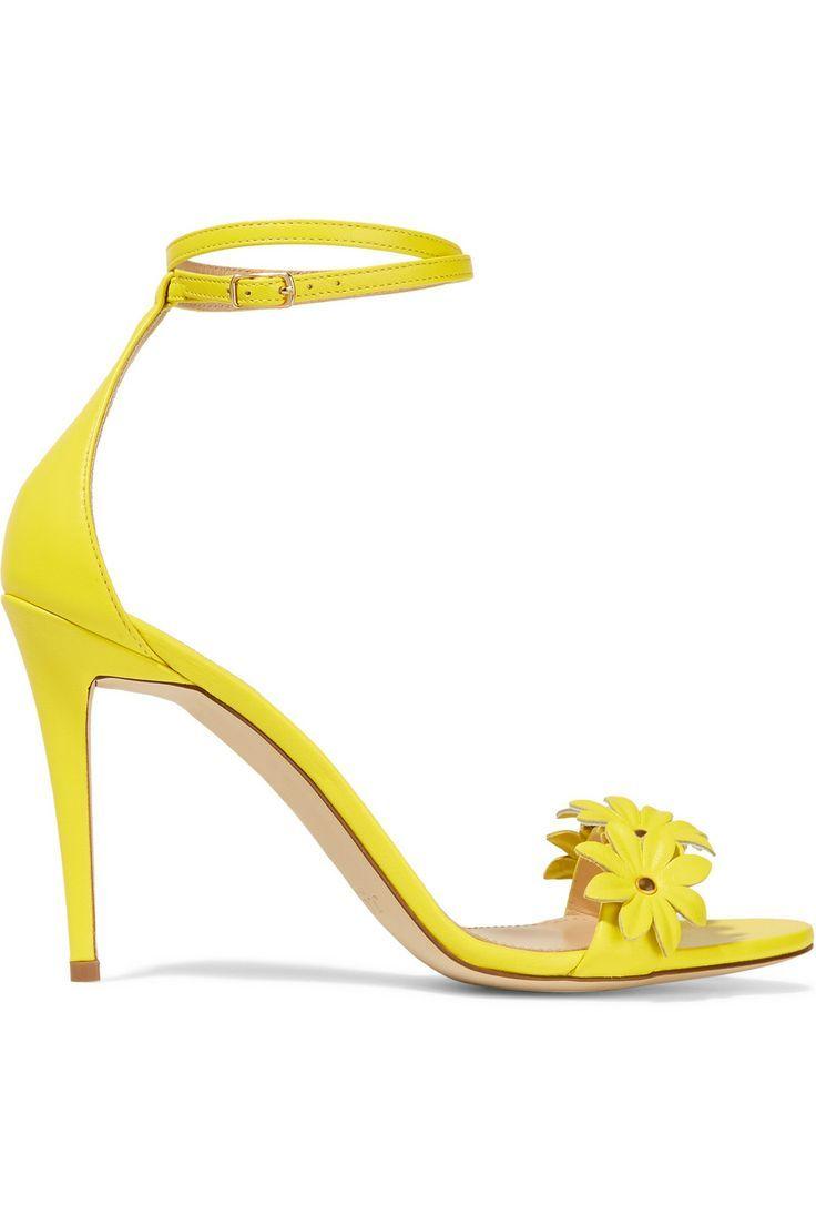 J.Crew | Floral-appliquéd leather sandals