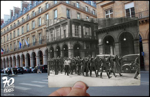 A Series of Composite Then-and-Now Photos of the Liberation of Paris During World War II