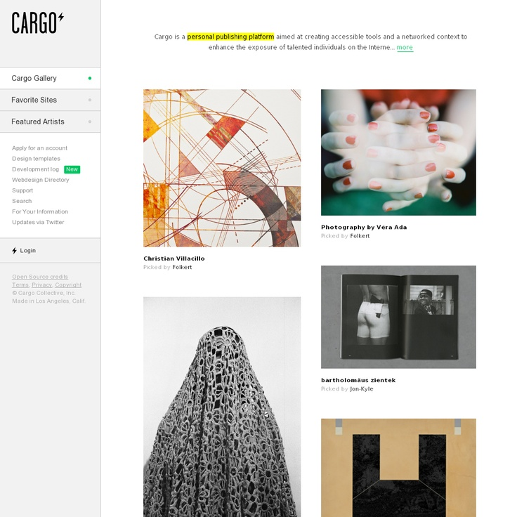 Cargo is a personal publishing platform aimed at creating accessible tools and a networked context to enhance the exposure of talented individuals on the Internet - http://cargocollective.com/