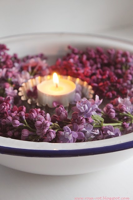 tea light and  Lilacs