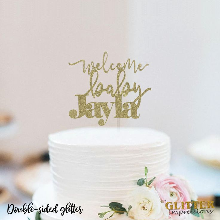 Personalized Name Cake topper, New born Baby Cake Topper, Cursive Font Glitter Cake Topper, Sparkly Cake topper, New Baby Celebration Party