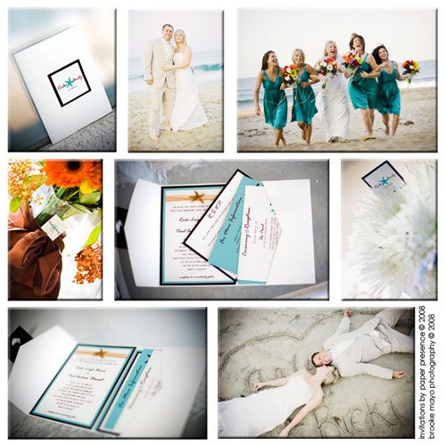 Aqua and Brown #starfish themed #wedding on the Outer Banks of NC.  Gorgeous photography by Brooke Mayo.