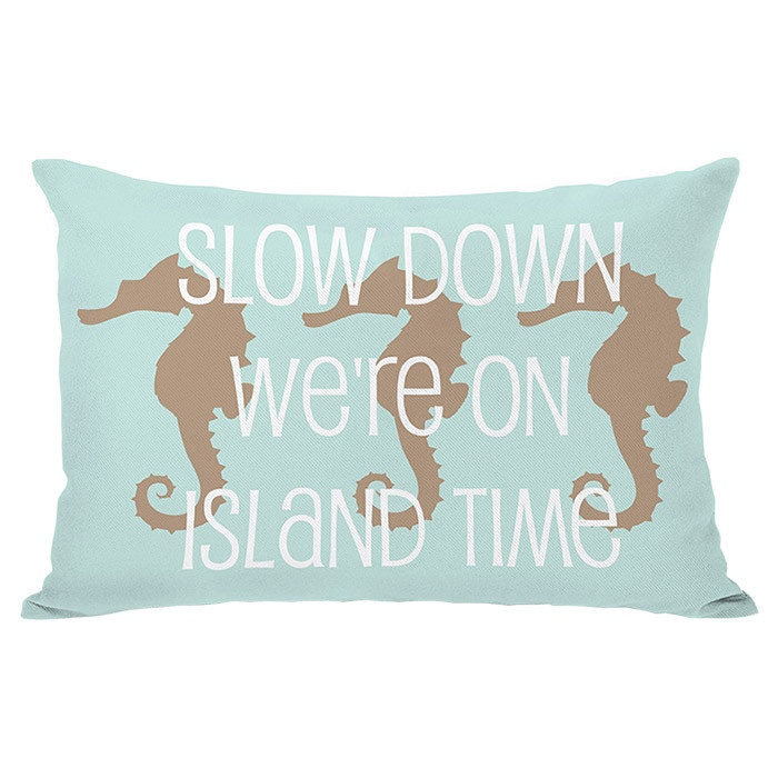 seahorse pillow - slow down, we're on island time