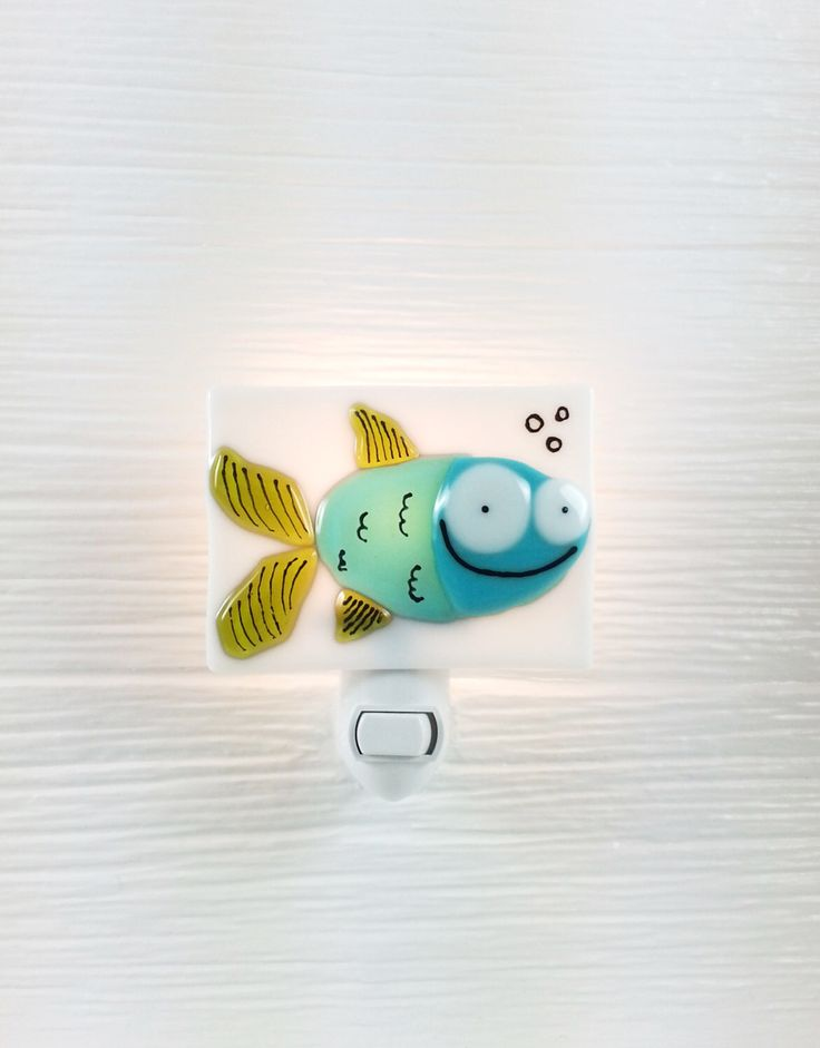 Nightlight, fish, teal, fused glass, turquoise, bathroom, decoration, gift, veille sur toi by VeilleSurToi on Etsy https://www.etsy.com/listing/234263140/nightlight-fish-teal-fused-glass