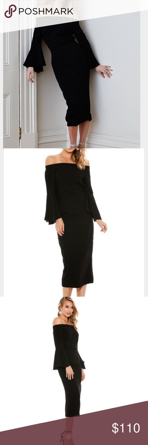 Maurie & Eve Lucy in the Sky with Diamonds dress Modern twist on a LBD. Accentuates your curves as it streamlines your body with this feminine cut. Love, love the flirty bell sleeves. Wore this little number once for a wedding and was a great hit! ❤️ Maurie & Eve Dresses Midi