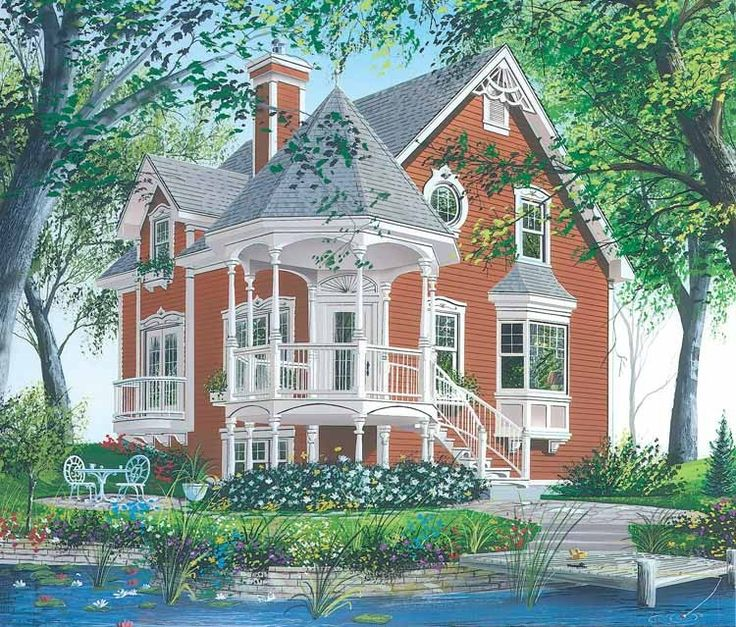 Queen anne house plan with 1597 square feet and 3 bedrooms for Queen anne house plans historic