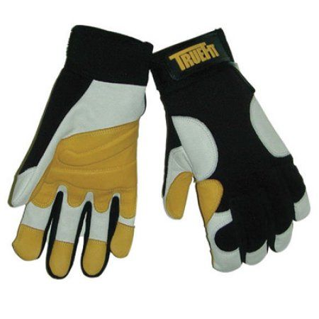 Tillman Large Black, Gold And Pearl TrueFit Super Premium Full Finger Top Grain Goatskin And Spandex Mechanics Gloves With Elastic Cuff,