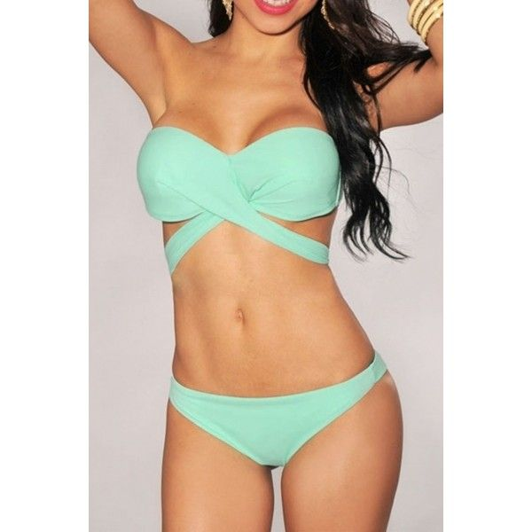 Mint Green Bandeau Strap Top Bikini ($16) ❤ liked on Polyvore featuring swimwear, bikinis, bikini, bathing suits, swimsuits, swim wear, mint green, bikini swimwear, swim suits and strappy bathing suit