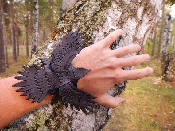 Leather carved bracelet Flying Raven black by RozaBracelets