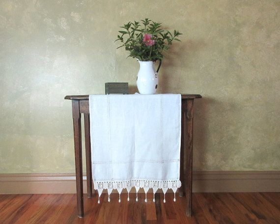 Victorian Table Runner Piano Scarf Crocheted Edge and Ball Tassles Linen