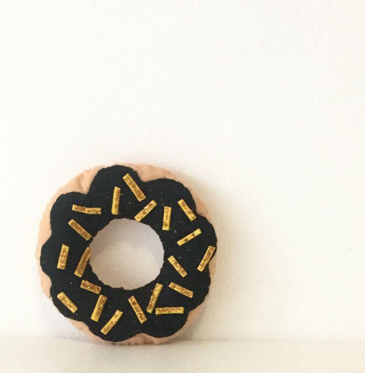 Monochrome scandi donut pillow, black donut cushion, golden coloured sprinkles, nursery decorative pillow by TadiDesigns on Etsy