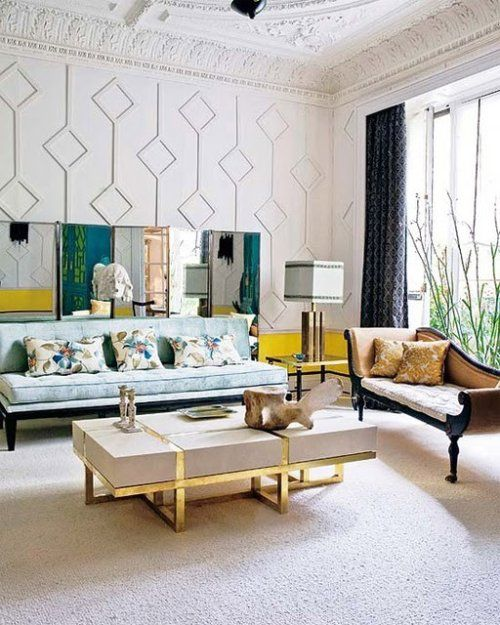 amazing walls, ceiling, and contrasting decor pieces.: Wall Patterns, Coffee Tables, Living Rooms, Design Interiors, Interiors Design, Wall Treatments, Memorial Tables, Wall Texture, Wall Design