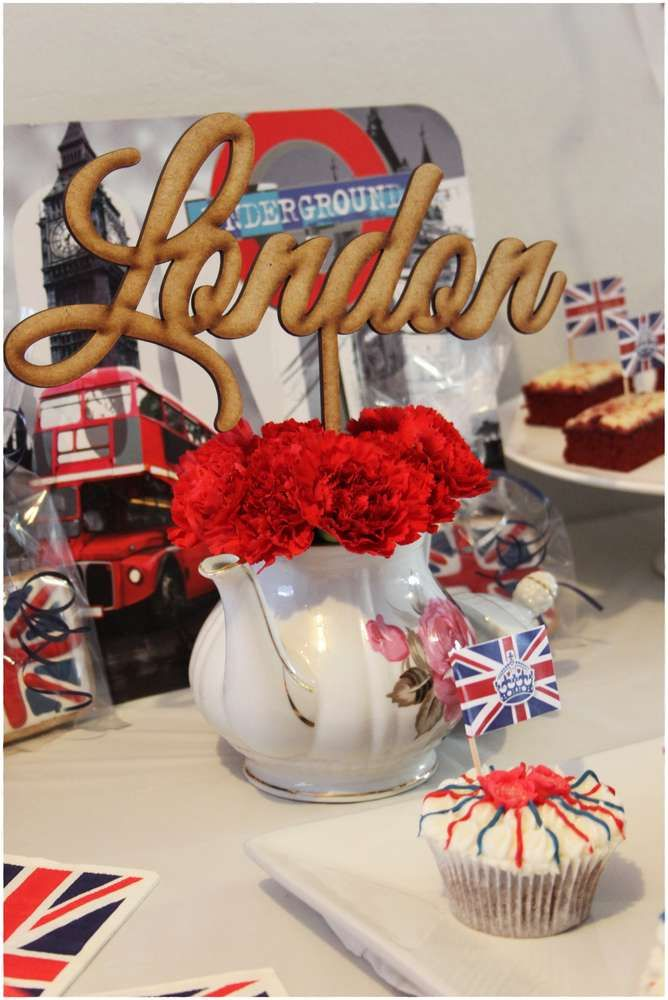 Cupcakes at a London birthday party! See more party planning ideas at CatchMyParty.com!