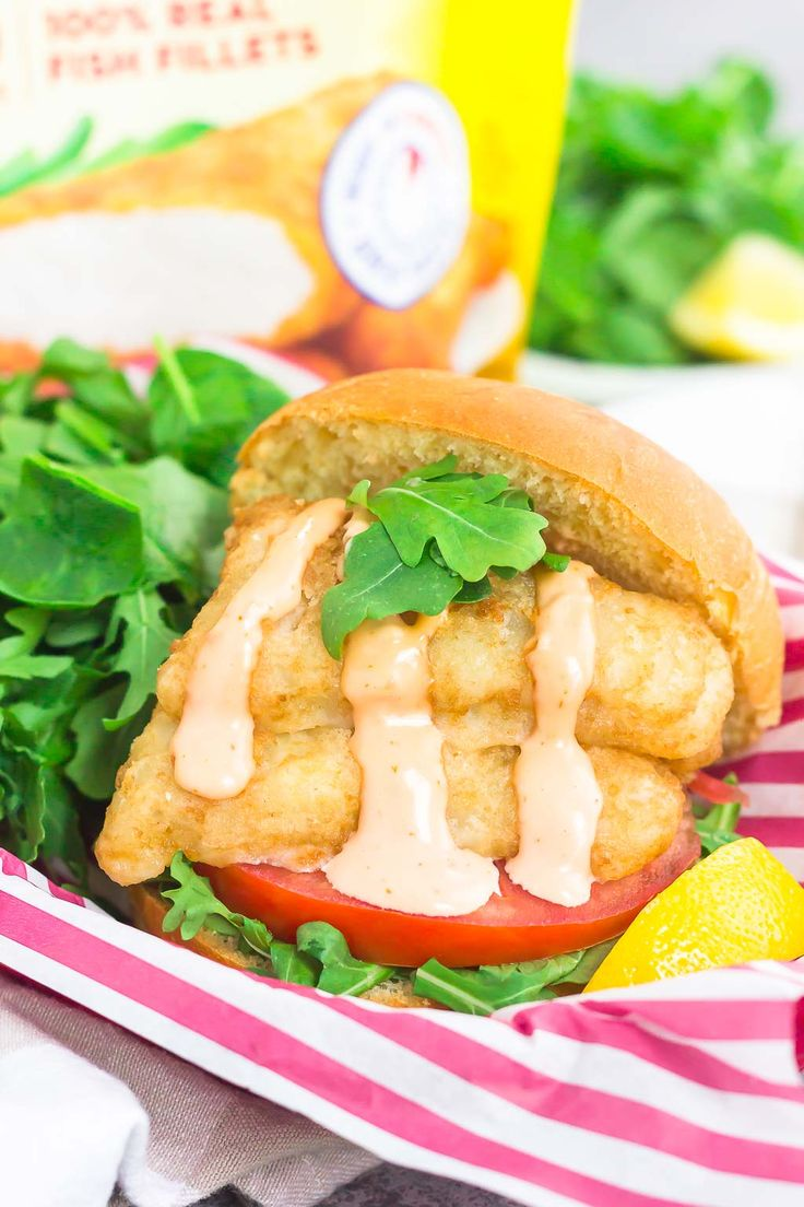 This Crispy Fish Sandwich with Sriracha Mayo is an easy weeknight meal that's loaded with flavor. Crispy, beer-battered fillets are nestled on a toasted bun and topped with a creamy sriracha mayonnaise. Fast, fresh, and simple to make, this easy dinner is ready in less than 30 minutes! #GortonsMealTime #TrustGortons #ad @GortonsSeafood