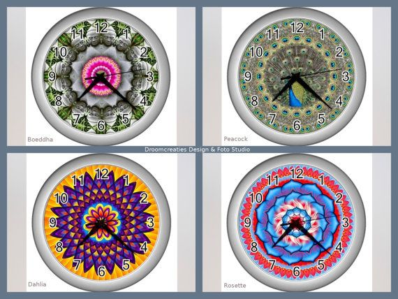 Wall clock mandala design - choose your favorite design: Boeddha - Peacock - Dahlia - Rosette  This wall clock brings colour in your home,