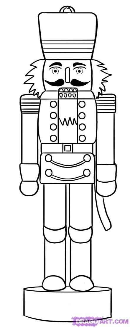line drawing of a nutcracker