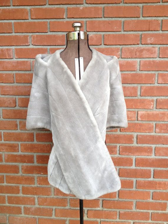 Grey Fur Wrap Shaw Faux Fur by couturecafe on Etsy, $52.00