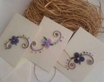 Filigraan kaarten Set van 3 Quilled Violet Card, Violet Card, filigraan kunst, papieren kaart, Bedankkaart, Mother's Day Card, Paaskaart,