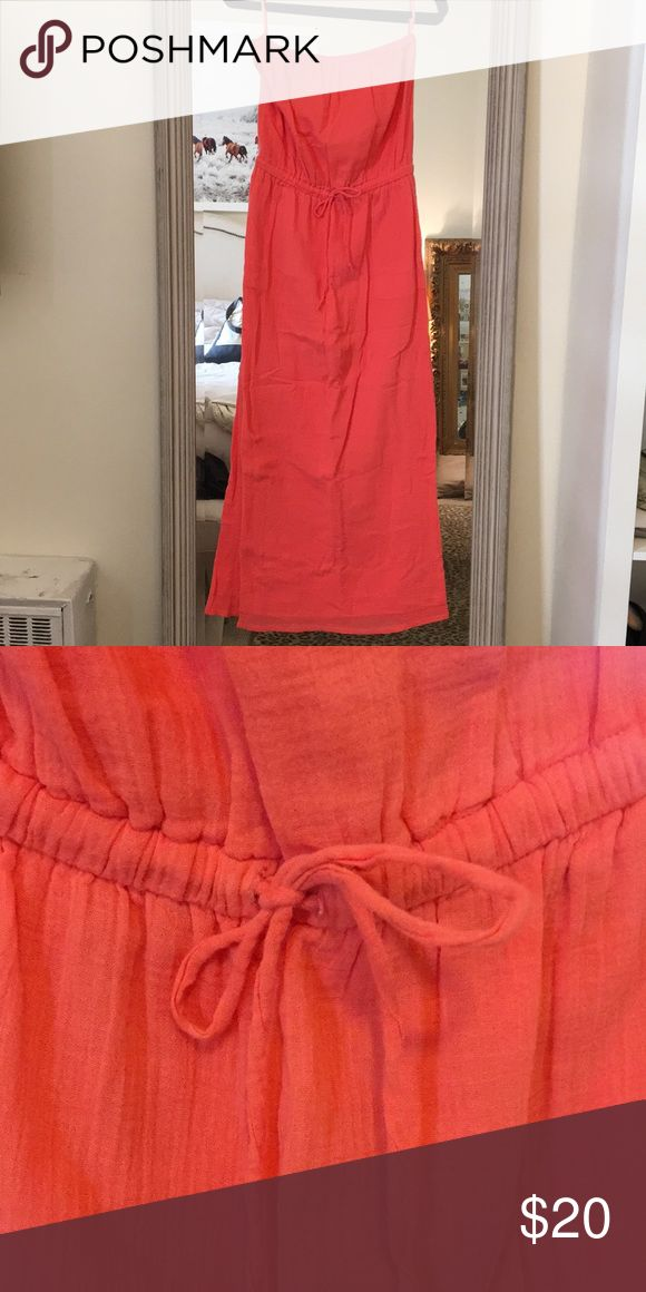 J.Crew Strapless Maxi Dress Coral maxi dress perfect for your winter vacation! Worn twice. J. Crew Dresses Maxi