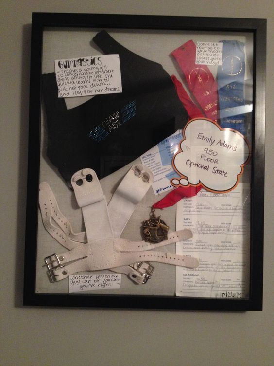 What a great idea! A Gymnastics shadow box with your team Leo, medals, ribbons, grips and everything in between: