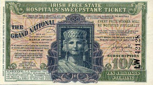 Irish Sweeps Stakes ticket - Aintree Grand National 1937